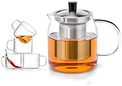 Creatividad Juego de té de alta temperatura para la tetera de la creatividad Tetera resistente al calor del vidrio espesado para la oficina en casa al aire libre ( Size : 500mlWith 2 smaLL cups )