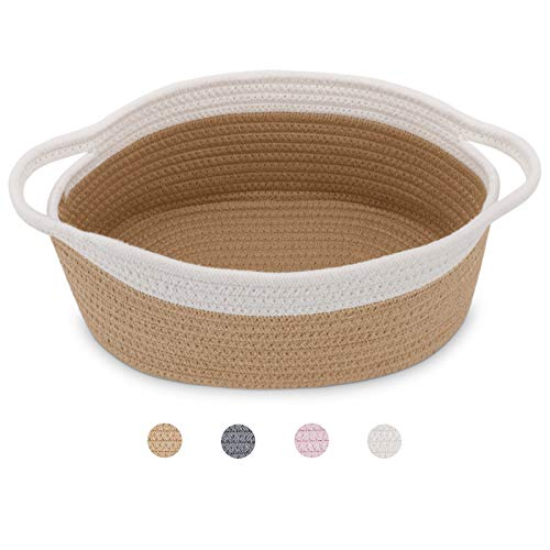 ABenkle Small Woven Basket | Cute Gray Rope Basket | Small Basket | Room Storage Basket | Cat Basket| Chest Box |Empty…