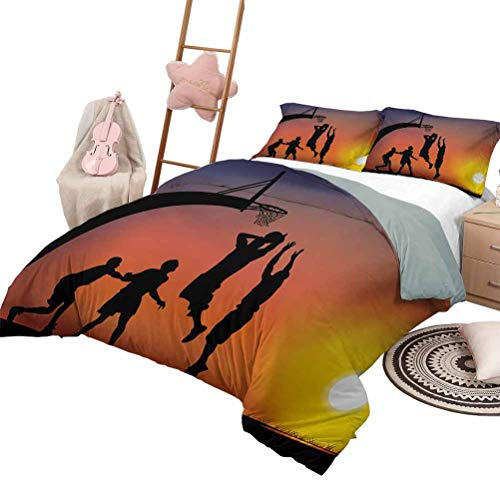 Daybed Quilt Set Teen Room Custom Bedding Machine Washable Boys Playing Basketball at Sunset Horizon Sky with Dramatic Scenery Queen Size Dark Coral Black Yellow