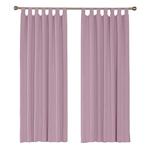 Amazon Brand – Umi Cortinas Opacas de Salon Termicas Aisantes para Ventana Dormitorio Moderno con Trabillas 2 Piezas 140 x 175 cm Rosa Claro