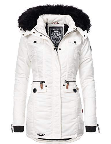 Navahoo Damen Winter-Jacke Winter-Mantel Steppmantel Schätzchen Weiß Gr. M