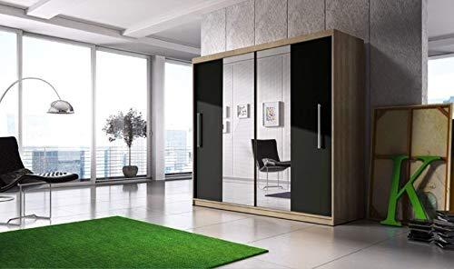 meble24shop - Armario con 2 puertas correderas y espejo para dormitorio: Amazon.es: Juguetes y juegos