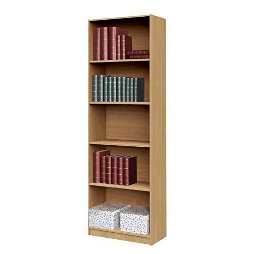 Mirjan24 Standregal Tebal mit 5 Fächer, Aktenregal, Bücherregal, Universal Regal Schranke, Büroregal, Regalsystem (Buche, 60 cm)