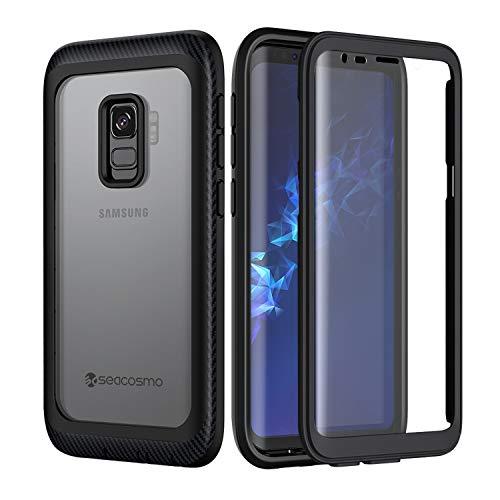 seacosmo Coque Samsung S9, Coque Galaxy S9 Antichoc [avec Protège-écran] Full Body Robuste Protective Integrale Étui Ultra Mince Bumper Cover Antipoussière Coque pour Samsung Galaxy S9, Noir