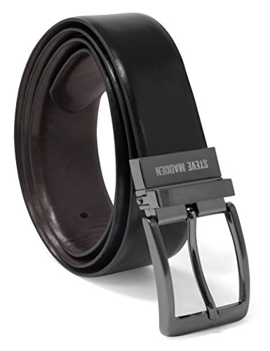 Steve Madden Men's Dress Casual Every Day Reversible Leather Belt, Black/Brown (Burnished), 34