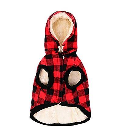 【Pet Outfit】 - Gentleman und westlichen Schottland-Stil, hohe Qualität Warm Removable Puppy Cute Kapuzen Mäntel Plaid Jacken Hoodies für Ihren Hund. 【Abnehmbarer Hut】 - Abnehmbarer Hut erfüllen die unterschiedliche Anfrage, ein Haustier Kapuzenmantel...