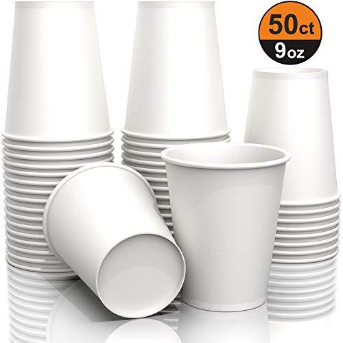 9 oz White Paper Cups Wegwerpbeker voor Koffie Thee Water en Koude Dranken Ideaal Badbekers 270 ml (50 stuks)