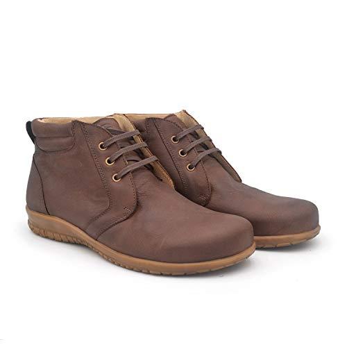 Lucio Marrón 43 EU- Zapato clásico Hombre Ancho y cómodo - Piso de Cuero - Plantilla extraíble y recambiable - Piel ecológica sin Cromo - Forrados de Piel - Moda sostenible