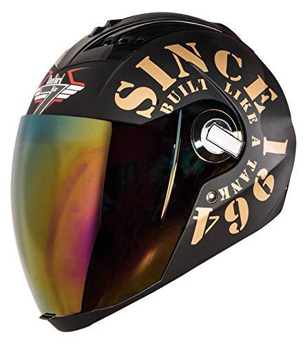 Steelbird SBA-2 TANK Full Face Helmet in Matt Finish with Gold Visor (Large 600 MM, Black/Gold)