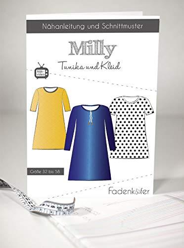 Schnittmuster Fadenkäfer Milly-Damen Tunika & Kleid Gr.32-58 Papierschnittmuster