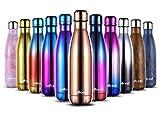 willceal Botella de Agua de Doble Pared de Acero Inoxidable con Aislamiento al vacío, 500 ml, a Prueba de Fugas, para Mantener el frío y Bebidas Calientes, para Deportes al Aire Libre, Camping, etc