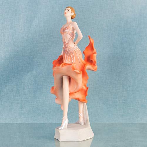 Ballroom Dancer Dancing Lady Figurine Ornament Oranje Jurk Verzamelbaar