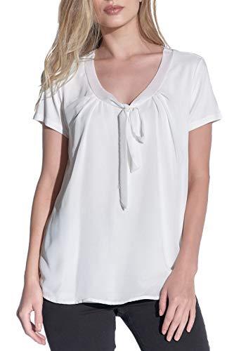 Vestino dames blouses shirt met strik korte mouwen comfortabel chiffon viscose breed