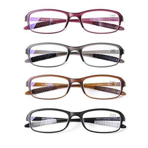 DOOVIC Blaulichtfilter Computer Lesebrille für Damen/Herren Eckig Vollrand Anti Rutsch Leicht Flexible Brille mit Sehstärke 1,75
