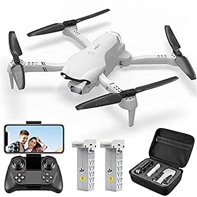 4DRC F10 Foldable Drone with Camera for Adults ,1080P HD FPV Live Video, Altitude Hold,Headless Mode,3D Flips, Trajectory Flight, App Control,One Key Start, RC Quadcopter for kids with 2 Batteries by 4drc