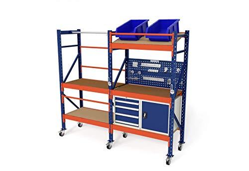 In hoogte verstelbare steekwagen werktafel werkbank verrijdbaar opslagwagen H214xB230xT60 incl. multiplexplaat, houten vloer, schuine bodem & gereedschapskasten.