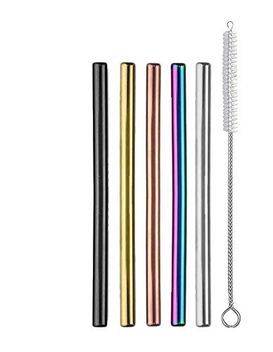 Ello 5-Pack Stainless Steel Reusable Cocktail Straws with Cleaning Brush (Metallic Multicolor)