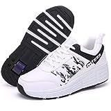 GWYX Zapatos con Ruedas, Patines En Línea Calzado Deportivo Monopatín Gimnasia Al Aire Libre Zapatillas De Deporte Niños Niñas Patines De Ruedas Calzado De Skate Ajustable,Single Wheel-33 EU
