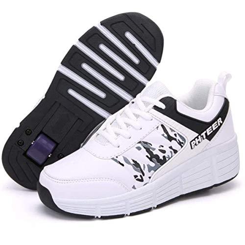 GWYX Zapatos con Ruedas, Patines En Línea Calzado Deportivo Monopatín Gimnasia Al Aire Libre Zapatillas De Deporte Niños Niñas Patines De Ruedas Calzado De Skate Ajustable,Single Wheel-34 EU