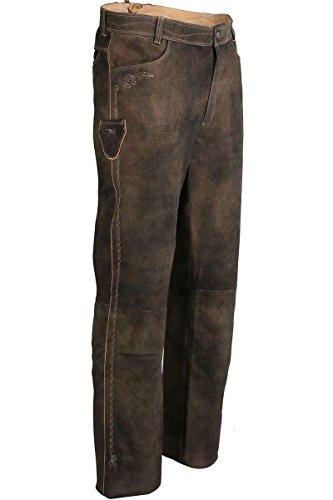 Spieth & Wensky Herren Trachten Lederhose lang Dunkelbraun, braun, 62