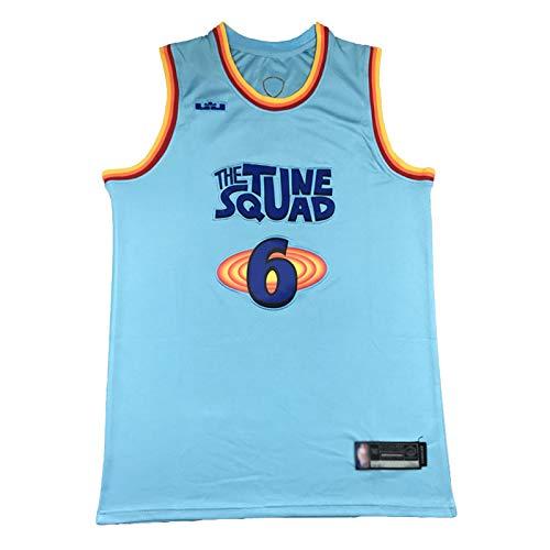 Jersey de Baloncesto de los Hombres, King James # 6 Los Angeles Laker Nuevo Chaleco Transpirable sin Mangas, Chaleco Deportivo Sudadera sin Mangas. Blue-XL