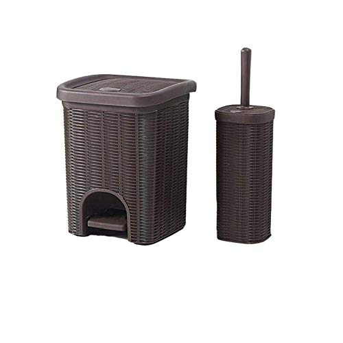 FGVBC Pedal Bin Trash Can With Lid Rattan Wicker Effect For Kitchen Bathroom Office Rubbish Dustbin W/Basket-10x10x12.6inches (Color : Brown)