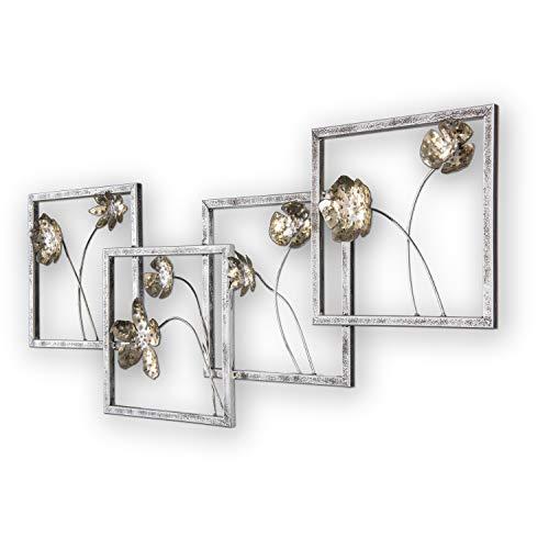 mosa designs 3D Metallbild Wandbild Blumen Gold Wanddeko 100x47cm