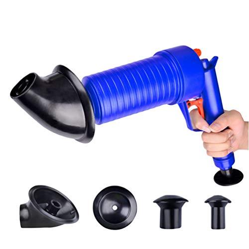 Lvguang Pressluft-Rohrreinigungspistole, Toiletten-Luftstößel-Badewanne Reinigung Haken, mit 4 Aufsätzen zur Reinigung von Verstopfung oder verstopften Abflüssen im Haushalt (Blau)