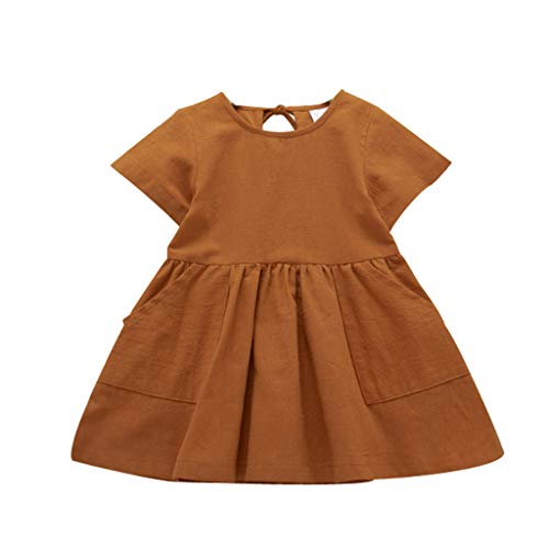 LEXUPE Kleinkind-Baby-Feste mit Rüschen besetzte Kleid-Prinzessin Dresses Casual Clothes(Kaffee,110)