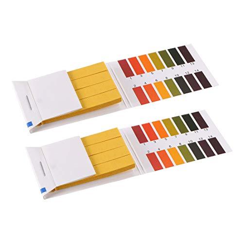 sourcing map pH-Teststreifen 1–14 Indikatorpapier Labor-Lithmus-Tester 80-in-1-Set für Wasser, Lebensmittel, Pool, Aquarium, Testen von Alkali-Säure, 2 Stück