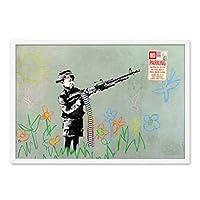 家の装飾のためのバンクシーテーマ画像のキャンバスプリント-銃を保持している小さな男の子と現代のヴィンテージの壁のアートワーク絵画-ストリートアートポスターリビングルーム、寝室のキャンバスの壁の芸術,40×60cm