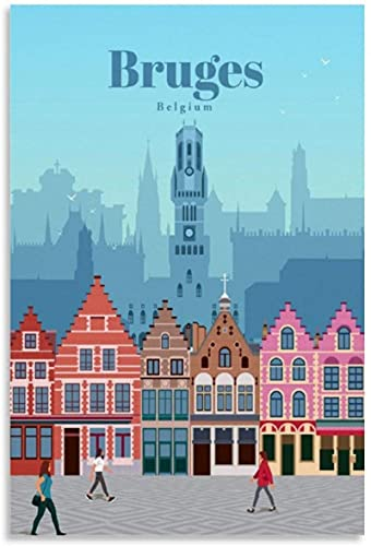 HNGFV Cuadros Decoracion Poster de Viaje Vintage Brujas Bélgica Lienzo Impreso Obra de Arte Pared Arte Decoracion Poster Casas Modernas Oficina60x90cm x1 Sin Marco