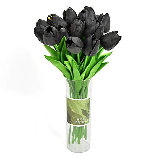 20 tulipani artificiali, colore nero, bouquet di fiori artificiali, composizioni floreali, tulipani realistici con manico, bellissimi fiori artificiali per matrimonio, casa, ufficio, giardino, festa