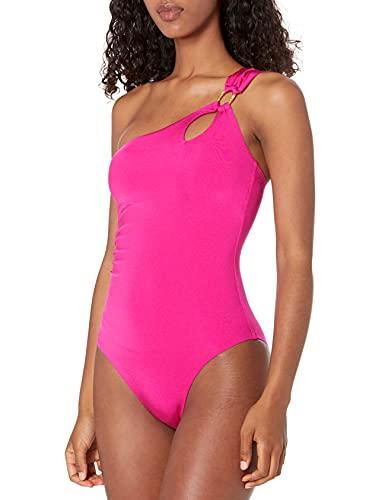 Trina Turk Women's Getaway Solids Shoulder One Piece Swimsuit, Berry, 6
