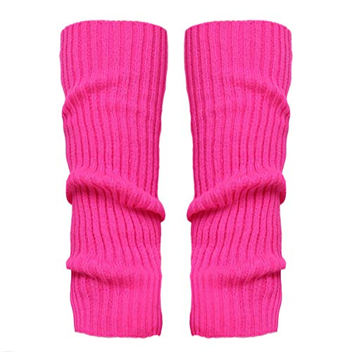 Stulpen Damen,1 Paar Mode Beinlinge Twist gestrickte Beinlinge Socken Boot Cover warme Leg Socken Teens Grobstrick Legwarmers(Hot Pink)