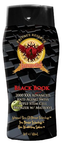 Immoral Black Book 2000 XXX Advanced Anti-Aging Stem Cell Matrixyl Bronzing Tanning Lotion | Streak Free Tattoo Safe Tanning Bed Silicone Dark Bronzer, Intensifier, Accelerator and Tan Maximizer, 11Oz