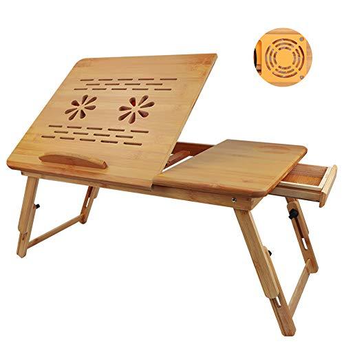 GUIFIER Scrivania per Laptop in Bambù - Supporto per Laptop Regolabile in Altezza - Computer per Divano Letto, Supporto per Scrivania in Bambù Pigro Con Cassetto e 2 Ventole USB.