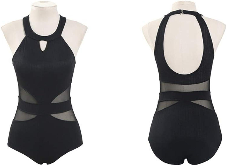 Black Swimsuit High Collar Halter, OnePiece Sexy Briefs