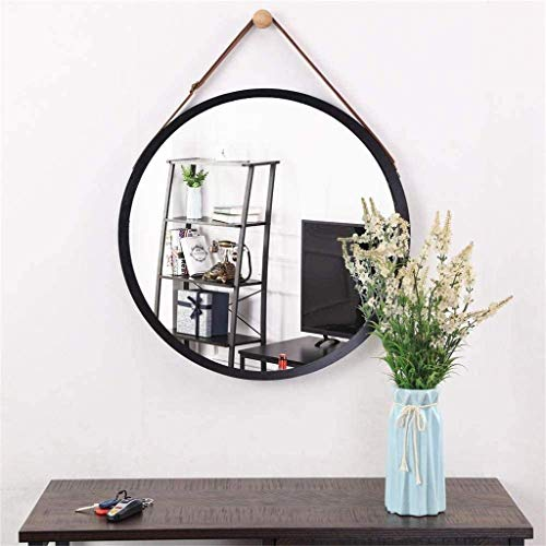 HAOYANGDE Vägghängande spegel - Bambu inramad rundväggspegel för ingångsbad med avrundade hörn och faux läderband Svart, råvarukod: JZEMGD- 59 (Size : 38x38cm)