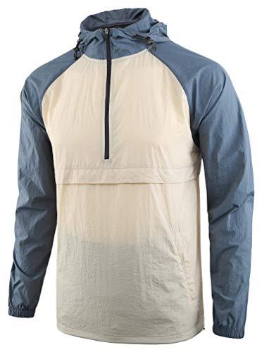 Estepoba Men's Lightweight Waterproof Zip Hoodie Rain Jacket Anorak Windbreaker Cream/Vintage Blue XL