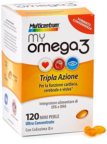 Multicentrum My Omega 3 | Integratore alimentare di EPA e DHA, Tripla azione funzione cardiaca, cerebrale e visiva, Senza Glutine, 120 capsule