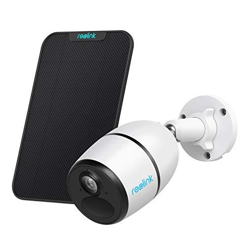 Reolink Cámara de Vigilancia Exterior 3G/4G LTE con Batería, 1080P HD Sin Cables Cámara IP, IP65 Impermeable Visión Nocturna Audio Bidireccional Sensor de Movimiento PIR, Go con Panel Solar