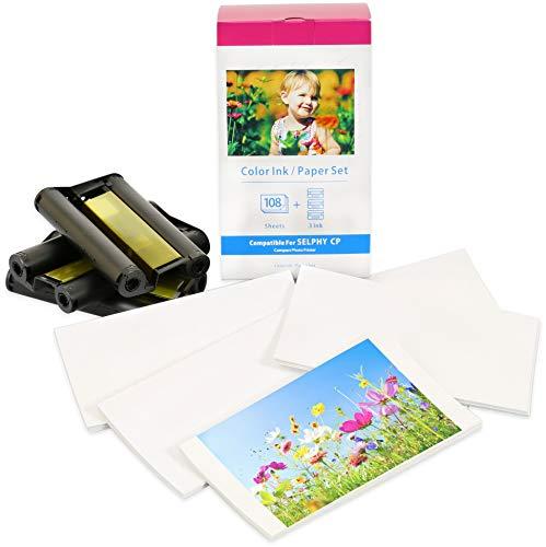 Druckerkartusche und Papier kompatibel zu KP-108IN für Canon Selphy CP1300 CP1200 CP1000 CP910 CP820 CP810 CP800 CP790 CP780 Fotodrucker | 3 Farbkartuschen | 108 Blatt | Postkarten-Größe: 100 x 148mm