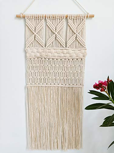 "wewewin Macrame Wall Hanging Boho Hand-Made Woven Hanging Art,Tapestry Décor for Home Bohemia Wall Pediments 32"" L×17"" W"