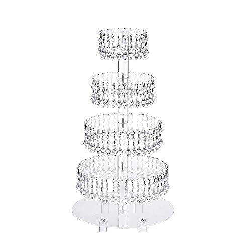 Expositor para Tartas 5-capa de pastel redondo de acrílico Soporte Soporte del postre colgante de cristal transparente de soporte de exhibición for la fiesta de cumpleaños de la decoración de la boda