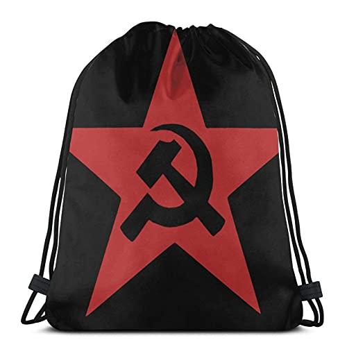 Bolsas con cordón comunista ussr martillo, hoz y estrella unisex con cordón, bolsa de cuerda grande con cordón, mochila de gimnasio a granel