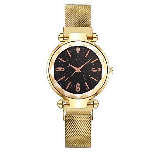 Powzz - Reloj de pulsera magnético digital Lazy Star Lazy Magneto, color dorado