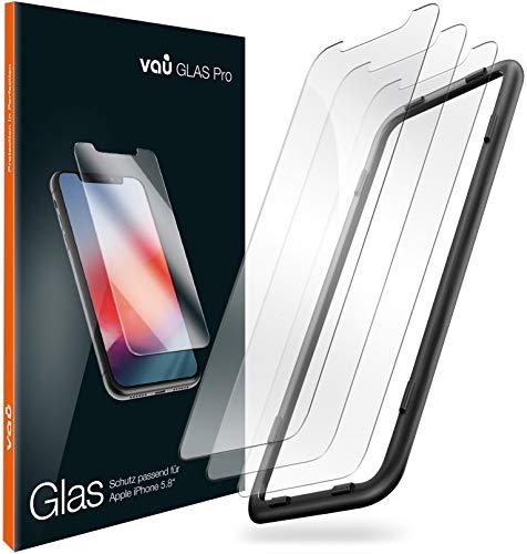 vau Glas kompatibel mit iPhone 11 Pro (5.8) - Panzerglas Pro Schutzfolie 3 x Folie Vorne + Installationswerkzeug (Bildschirmschutzfolie Front kompatibel mit Apple iPhone XI Pro OLED 2019)
