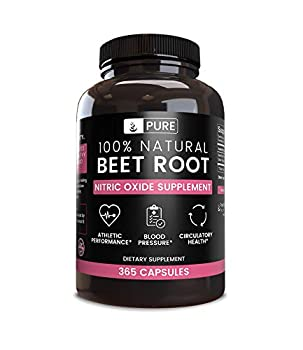 100% Pure Beet Root 365 Capsules 4 Month Supply No Magnesium or Rice Filler Gluten-Free Natural Made in USA Natural Source Potent 1155mg Undiluted Beet Root Extract with No Additives