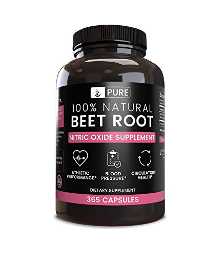 100% Pure Beet Root, 365 Capsules, 4 Month Supply, No Magnesium or Rice Filler, Gluten-Free, Natural, Made in USA, Natural Source, Potent, 1155mg Undiluted Beet Root Extract with No Additives